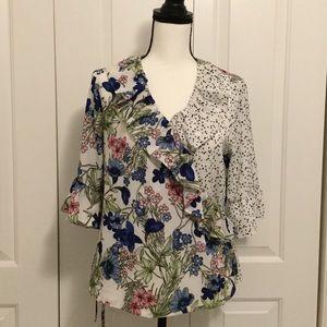Wrap Shirt Blouse floral polka dots Sz. 10